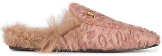 Gucci pink Princetown shearling mules