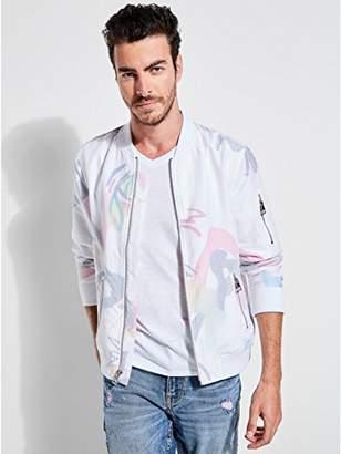 GUESS Men's Long Sleeve Voile Pop Art Bomber Jacket