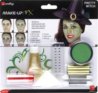 smiffys Pretty Witch Make Up Kit, Face Paints,Tattoo,Gem