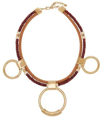 Chloé - Sawyer Bead And Hoop Necklace - Womens - Burgundy