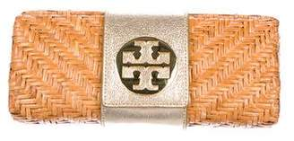 Tory Burch Leather-Trimmed Basket Clutch
