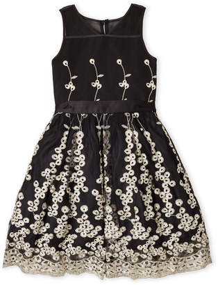 Nanette Lepore Girls 7-16) Black Embroidered Tulle Dress