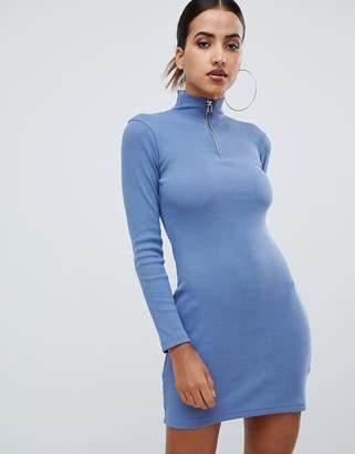 Missguided high neck zip through bodycon dress in blue