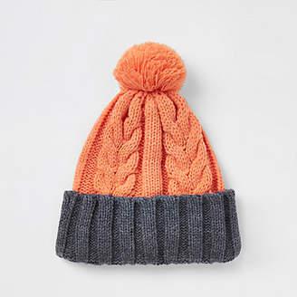 River Island Orange cable knit bobble beanie hat