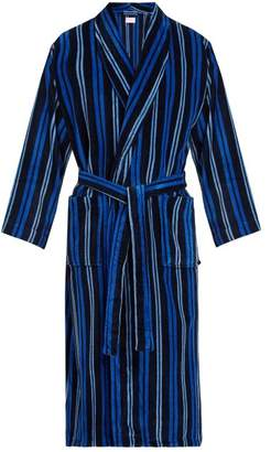Derek Rose Aston Striped Cotton Robe - Mens - Navy