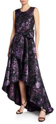 Zac Posen Clarissa Sleeveless Gilded Jacquard High-Low Gown with Bow