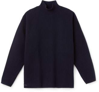 Lacoste Women's Stand-Up Collar Ribbed Wool And Cashmere Sweater