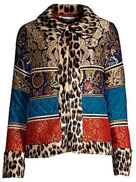 Alice + Olivia Women's Glennie Leopard-Trim Faux Fur Patchwork Jacket