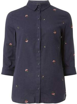 Dorothy Perkins Womens Navy Floral Embroidered Shirt