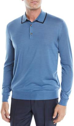 Ermenegildo Zegna Men's Wool-Silk Long-Sleeve Polo Shirt