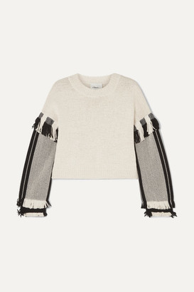 3.1 Phillip Lim Cropped Fringed Cotton-blend Sweater - Ecru