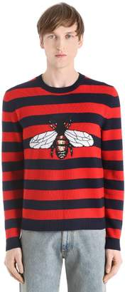 Gucci Striped Bee Wool Knit Jacquard Sweater