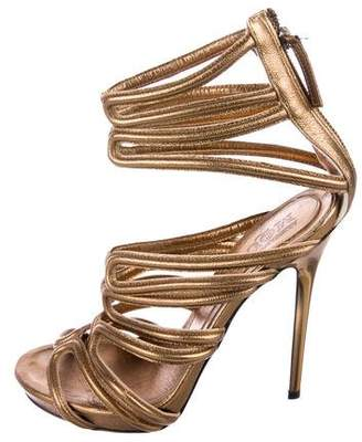 Alexander McQueen Leather High-Heel Sandals