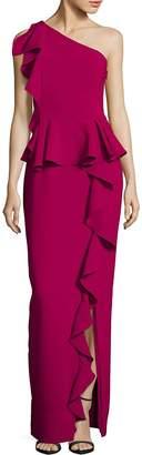 Theia Women's Asymmetrical Ruffle Gown