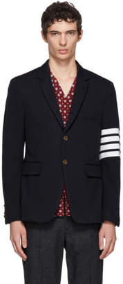 Thom Browne Navy Jersey Four Bar Classic Blazer