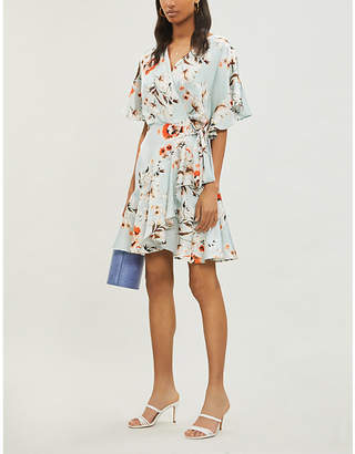 Lavish Alice Floral-print satin wrap mini dress