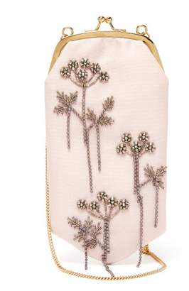 Erdem Beaded Mikado Silk Cross Body Bag - Womens - Pink Multi