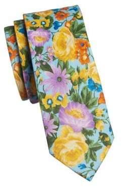 The Tie Bar Floral Linen Slim Tie
