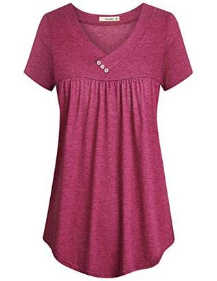 Cyanstyle Women's V Neck Short Sleeve Button Detail Pleated Shirt Tunic Blouse Top (-1