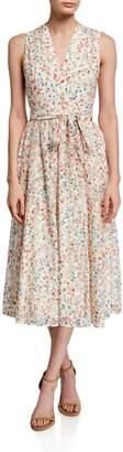 Kate Spade Mini Bloom Burnout Midi V-Neck Dress