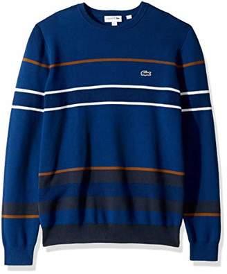Lacoste Men's Long Sleeve Striped Colorblock Crewneck
