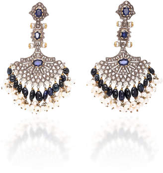 Sanjay Kasliwal Indo-Russian 14K Gold Pearl Sapphire and Diamond Earrings