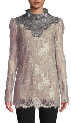 Lanvin Lace Long-Sleeve Top