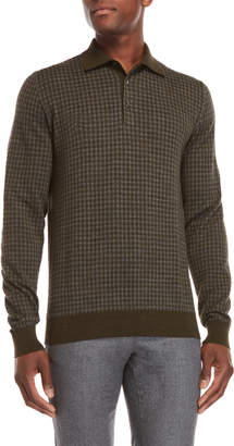 Luciano Barbera Wool Checked Collared Sweater