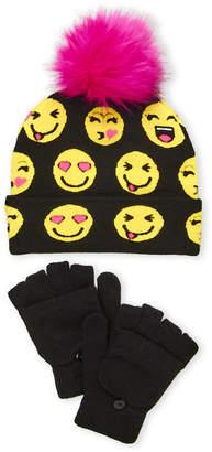 Capelli New York (Girls 4-6x) Two-Piece Emoji Hat & Gloves Set
