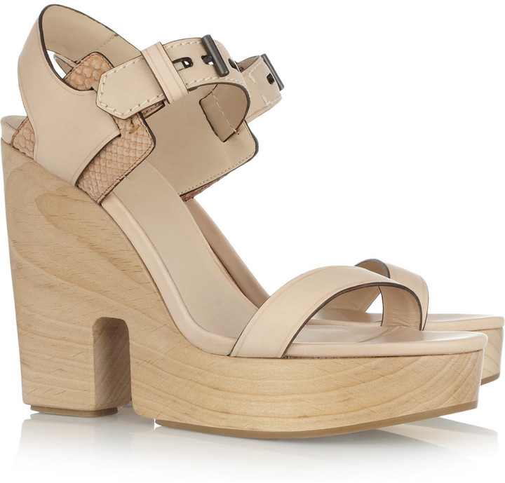 Reed Krakoff Wooden-heeled leather and python sandals