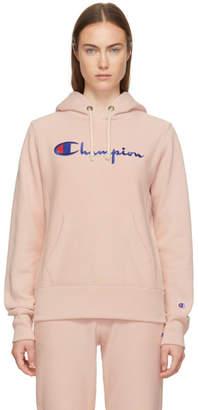 Champion Reverse Weave Pink Logo Hoodie