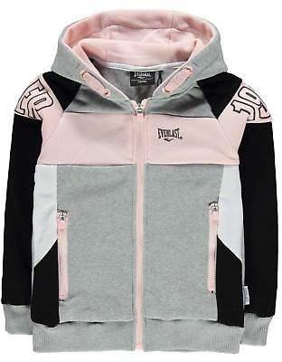 Everlast Kids Girls Stripe Zip Hoodie Hoody Hooded Top Long Sleeve Full