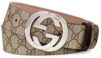 Gucci GG Supreme Belt w/Interlocking G $360 thestylecure.com