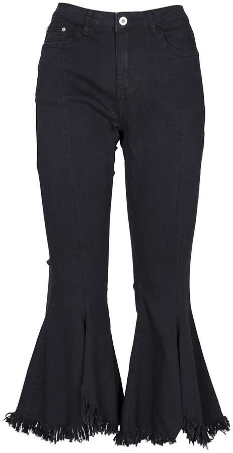 Black High-Waist Raw-Edge Flare Jeans - Women