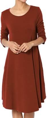 Ash TheMogan Women's 3/4 Sleeve Jersey Knit Pocket T-Shirt Dress Ivory M