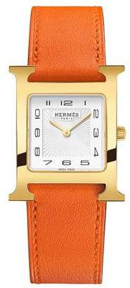 Hermes Heure H MM Watch with Orange Leather Strap