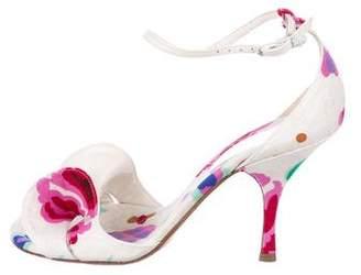 Chanel Floral Ankle Strap Sandals
