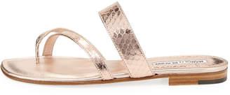 Manolo Blahnik Susa Strappy Snakeskin Slide Sandal
