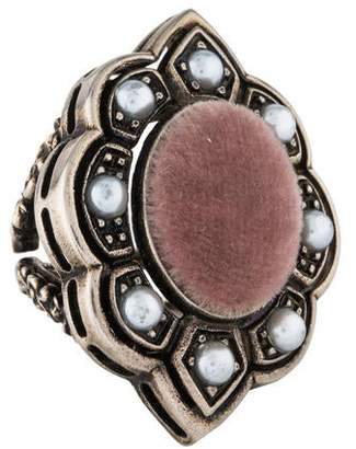 Gucci Faux Pearl & Velvet Cocktail Ring