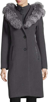 Mackage Mila Button-Front Hooded Wool Trench Coat w/ Fur Trim