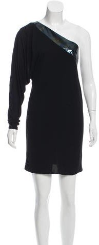 GucciGucci Leather-Paneled Draped Dress