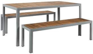 Carax Teak and aluminium garden dining set with table and 2 benches