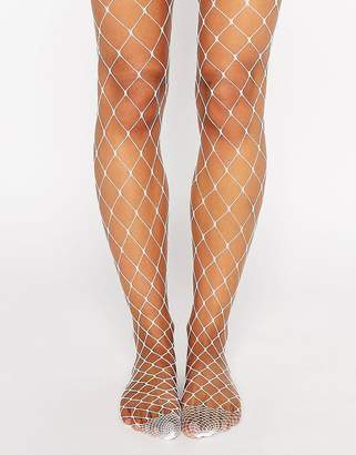 Asos DESIGN oversized fishnet tights in white