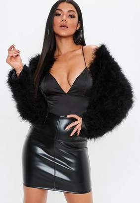 Missguided Black Feather Coat