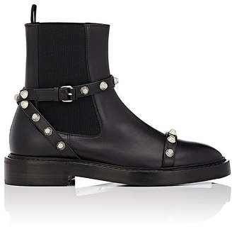 Balenciaga Women's Button-Embellished Leather Chelsea Boots-BLACK $1,015 thestylecure.com