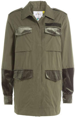 Sjyp Cotton Parka with Velvet and Embroidery
