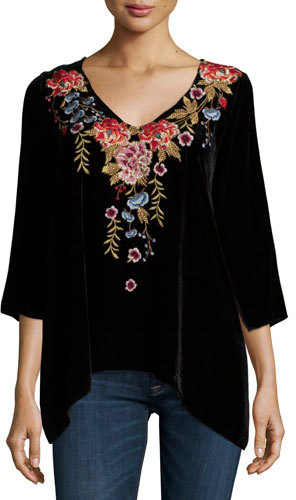 JWLA For Johnny Was Amber 3/4-Sleeve Embroidered Velvet Tunic