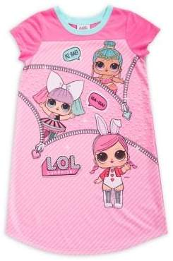 AME Sleepwear Little Girl's and Girl's Lol Surprise Short-Sleeve Nightgown