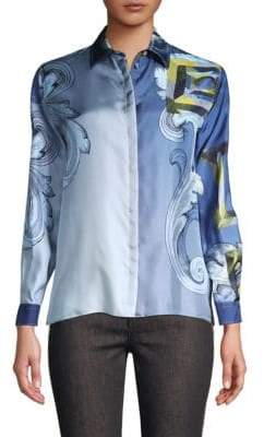 Versace Long Sleeve Printed Silk Shirt