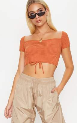 PrettyLittleThing Burnt Orange Ribbed Tie Detail Crop Top
